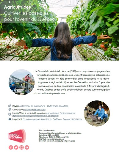 Agricultrices : Cultiver les possibles pour l'avenir du Québec (Groupe CNW/Conseil du statut de la femme)