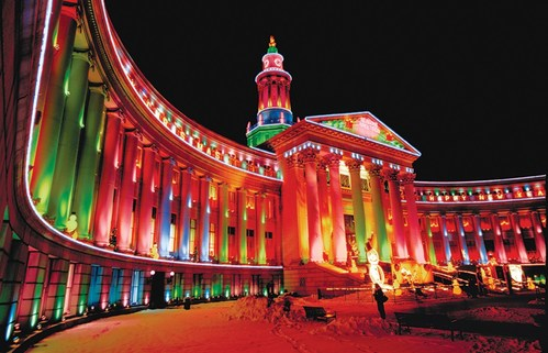 Denver's Mile High Holidays kicked off today - featuring hundreds of festive events, blockbuster exhibitions, hotel deals, shopping experiences, theatrical performances and more. Pictured: Denver's City & County Building, illuminated for the holidays. (Courtesy of Visit Denver)