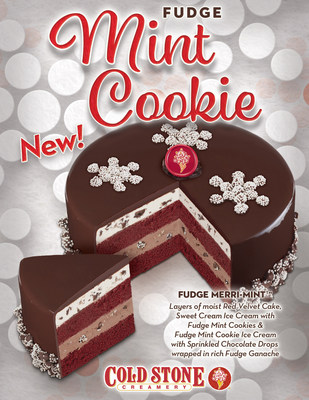 The new Fudge Merri-mint™ ice cream cake featuring layers of moist Red Velvet Cake, Sweet Cream Ice Cream with Fudge Mint Cookies and Fudge Mint Cookie Ice Cream with Sprinkled Chocolate Drops wrapped in a rich Fudge Ganache.