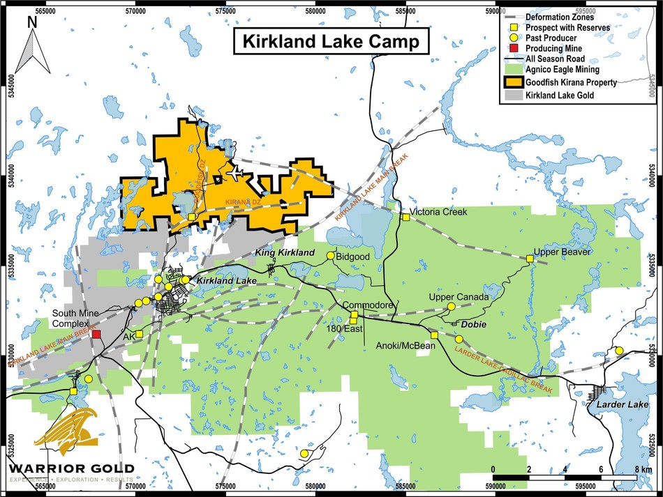 Map 1. Location Map – Goodfish-Kirana Property, Kirkland Lake Area, Ontario (CNW Group/Warrior Gold Inc.)