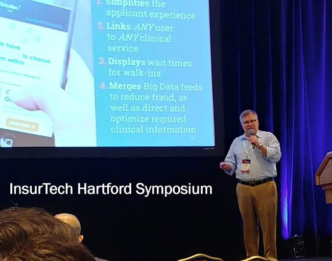 Force Diagnostics CEO Scott Filer addresses top industry executives at forum for insurance innovation in Hartford, Connecticut