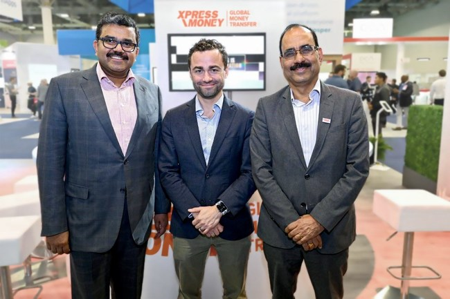 Promoth Manghat, Group CEO of Finablr, and Sudhesh Giriyan, CEO of Xpress Money, along with Matt Oppenheimer, CEO and Co-Founder of Remitly. (PRNewsfoto/Xpress Money)