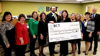 BCTCares For The Hungry initiative announced by Alice Frazier, President & CEO of BCT-Bank of Charles Town. (Pictured, L-R) Dianne Waldron, Program Manager-Berkeley County Meals on Wheels; Beverly Ryan, President-Jefferson County Meals on Wheels; Monica Husson, President-Berkeley County Backpack Program; Alice Frazier; Aaron Howell, SVP-BCT; Penny Porter, CEO-United Way of the Eastern Panhandle; Leslie Crabill, SVP-BCT Wealth Advisors; Leah Day, VP-BCT; Kristie Hadley, VP-BCT; and Matt Stickel, VP-BCT.