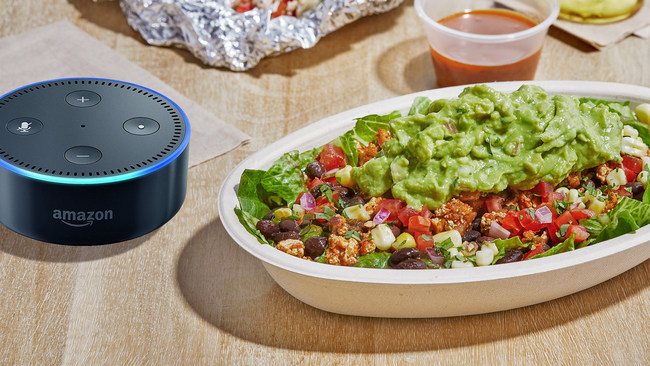 Chipotle announced today that its customers can now use the Chipotle skill for Alexa to reorder their favorite Chipotle meals for delivery or pickup.