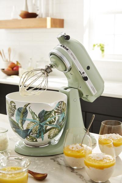 Artisan® Series 5 Quart Tilt-Head Stand Mixer in Pistachio with 5 Quart Tropical Floral Patterned Ceramic Bowl.