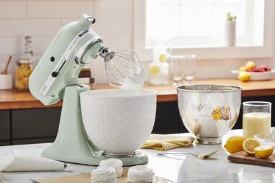 Artisan® Series 5 Quart Tilt-Head Stand Mixer in Pistachio with 5 Quart White Mermaid Lace Ceramic Bowl.