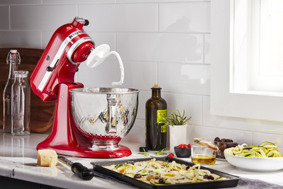 Artisan® Series 5 Quart Tilt-Head Stand Mixer in Empire Red with 5 Quart Tilt-Head Quilted Stainless Steel Bowl.