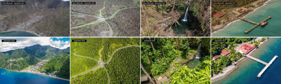 Dominica after Hurricane Maria and two years later. The infrastructure was rehabilitated using Citizenship by Investment funds.