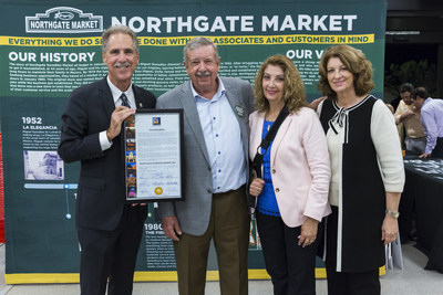 Celebrating the grand opening of the new Northgate González Market in Riverside is Council Member Jim Perry, Northgate Market's Co-President Miguel González, Reynoso-González Foundation President Estela González, and Owner Alicia González.