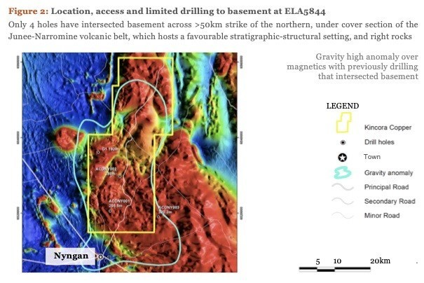 Figure 2: Location, access and limited drilling to basement at ELA5844 (CNW Group/Kincora Copper Limited)
