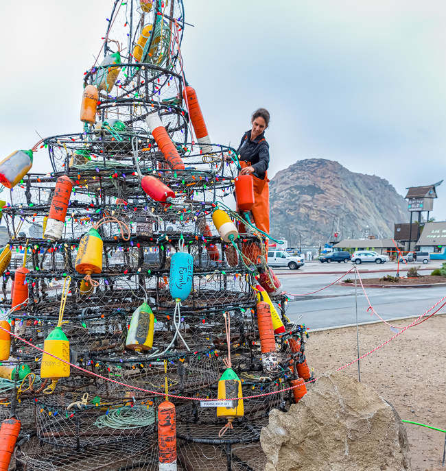 The seaside town of Morro Bay, CA Morro Bay celebrates its true nautical roots every year with bright lights on holiday trees made from old crab pots.