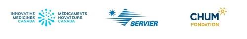 Logos : Médicaments novateurs Canada, Servier Canada et Fondation du CHUM (Groupe CNW/Servier Canada Inc.)