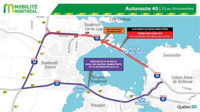 Pont des Chenaux (démolition) - A-40 - carte globale des fermetures (Groupe CNW/Ministère des Transports)