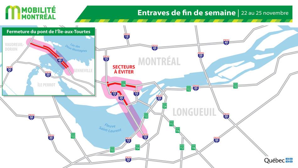 Carte générale des entraves, fin de semaine du 22 novembre (Groupe CNW/Ministère des Transports)