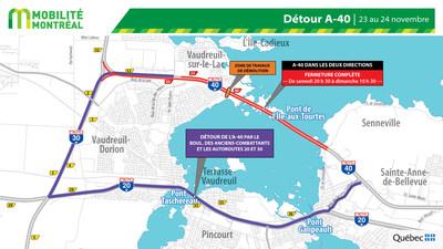 Fermeture A40 et pont Île aux-Tourtes détours, fin de semaine du 22 novembre (Groupe CNW/Ministère des Transports)