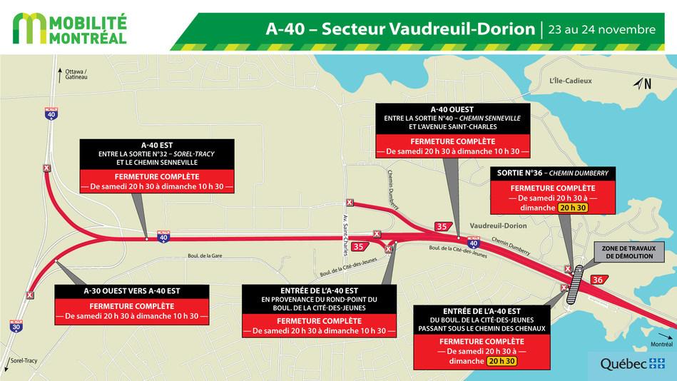 Fermetures A40 secteur Vaudreuil-Dorion, fin de semaine du 22 novembre (Groupe CNW/Ministère des Transports)