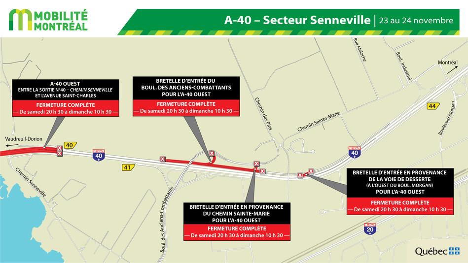 Fermetures A40 secteur Senneville-Montréal, fin de semaine du 22 novembre (Groupe CNW/Ministère des Transports)
