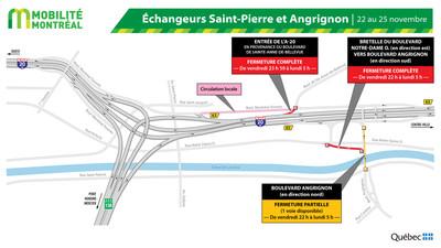 Fermetures secteur échangeur Montréal-Ouest, fin de semaine du 22 novembre (Groupe CNW/Ministère des Transports)
