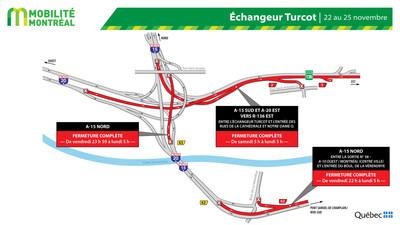 Fermetures échangeur Turcot, fin de semaine du 22 novembre (Groupe CNW/Ministère des Transports)