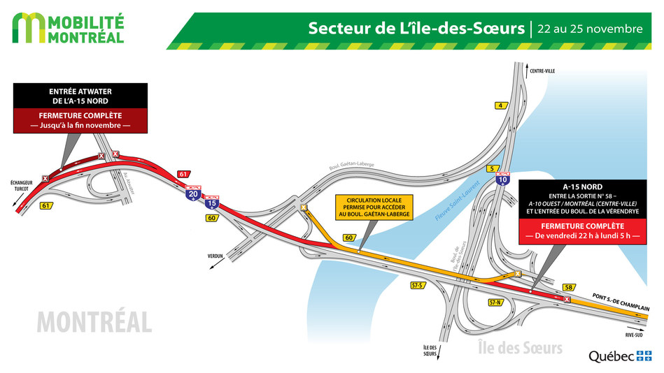 Fermetures A15 nord secteur Île des Sœurs, fin de semaine du 22 novembre (Groupe CNW/Ministère des Transports)
