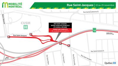 Fermeture rue Saint-Jacques, fin de semaine du 22 novembre (Groupe CNW/Ministère des Transports)