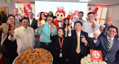 Jollibee North America executives led by its President Beth Dela Cruz celebrate the inauguration of the new headquarters with a ceremonial toast alongside special guests City of West Covina Mayor Lloyd Johnson and Mayor Pro Tem Tony Wu. (Photo credit: Jollibee)