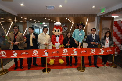 President of JFC Philippine Brands Group - North America Beth Dela Cruz (fourth from right) leads the ribbon cutting at the new support headquarters. She is joined by (l-r) Red Ribbon Business Unit Head Agnes Briones, West Covina Mayor Pro Tem Tony Wu, Consul General of the Philippine Consulate of L.A. Adelio Angelito Cruz, Jollibee, West Covina Mayor Lloyd Johnson, Chowking Business Unit Head Rey Viguilla, and JFC North America HR Director Josephine Esmundo. (Photo credit: Jollibee)