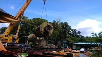 Installation of Forms Grinding-Foundation (CNW Group/TVI Pacific Inc.)