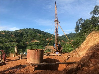 Location of drill area for Borehole no.1. EDCO started with the SPT in preparation  for packer test (CNW Group/TVI Pacific Inc.)
