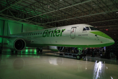 Launch of the first aircraft Embraer E195-E2 bought by Binter. EFE/Sebastião Moreira