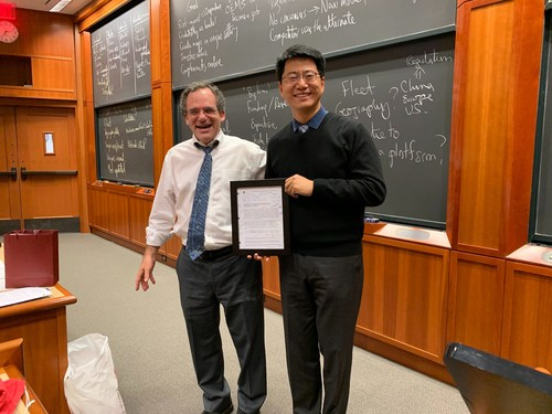 Shane Greenstein, Martin Marshall Professor of Business Administration at the Harvard Business School, with James Wu, CEO and Co-Founder of DeepMap, Nov. 21, 2019
