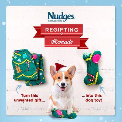 Celebrate the holidays by regifting your holiday sweaters, socks and ties to your dog in the form of a toy they will love. Visit NudgesDogTreats.com/Regifting-Remade