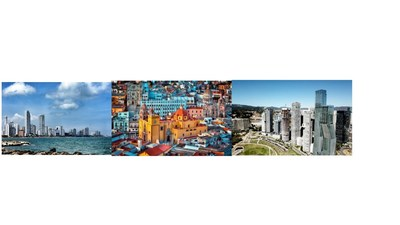 Da esquerda para a direita: Cartagenathe, Guanajuato e Santa Fé, Cidade do México.