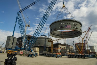 Final ring placed for Vogtle 4 (credit; Georgia Power)