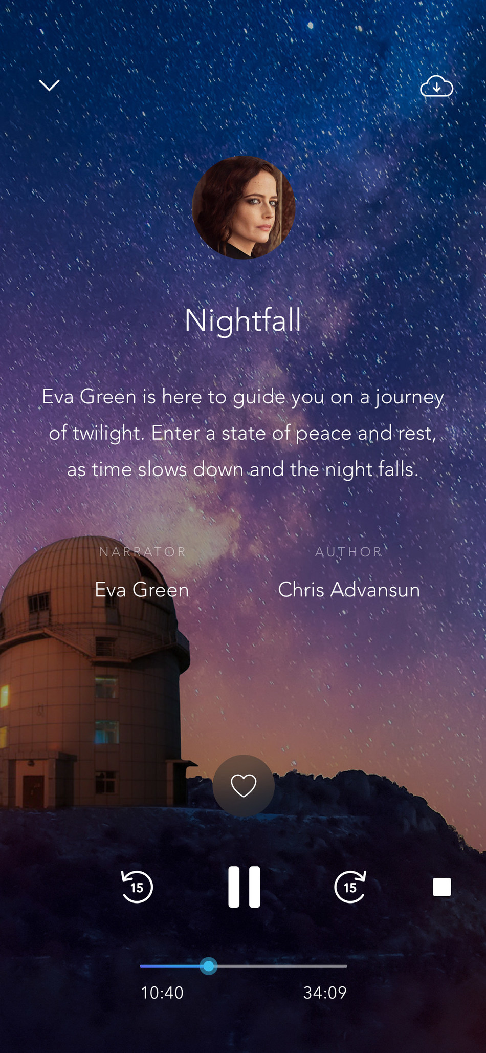 "To celebrate its partnership with Novotel, Calm is releasing a new Sleep Story called ""Nightfall"", narrated by award-winning actress Eva Green. (CNW Group/Novotel Hotels)"