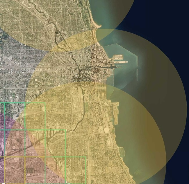 Helios Visions Advanced Aerial Drone Services Company - Guide to Flying Drones in Chicago and Illinois. Chicago Drone restriction map example image.