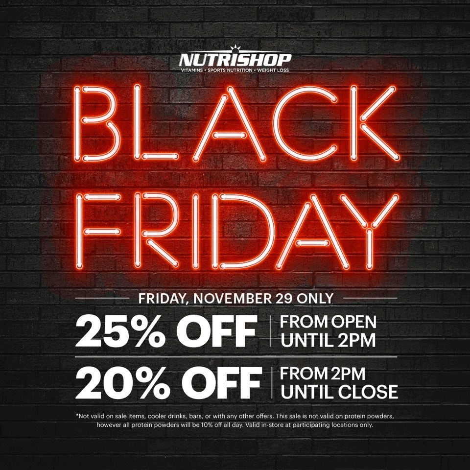 Nutrishop Announces Black Friday And Cyber Monday Deals In Stores Nationwide