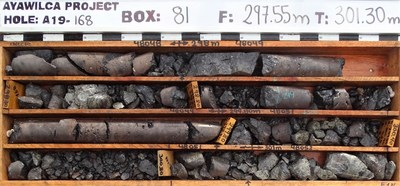 Figure 2.  Drill core photograph from the high-grade lower interval in A19-168 (CNW Group/Tinka Resources Limited)