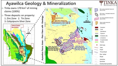 Figure 4.  Regional Geology Map highlighting some of the zinc targets within the Ayawilca Property (CNW Group/Tinka Resources Limited)