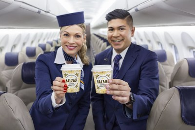 Complimentary coffee and tea will be served onboard Porter Airlines flights in custom Balzac's cups featuring Mr. Porter, the airline's cheeky graphic raccoon brand mascot. (CNW Group/Porter Airlines)
