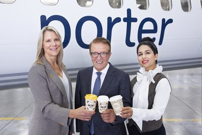 From left to right: Diana Olsen, Robert Deluce, and Hoda Paripoush, the respective founders of Balzac's Coffee Roasters, Porter Airlines and Sloane Fine Tea Merchants, celebrate Porter's new selection of hot beverages. (CNW Group/Porter Airlines)