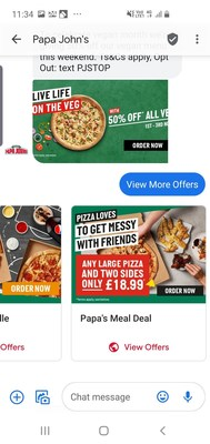 Example of the Papa John's Vegan Pizza RCS campaign enabled by Infobip