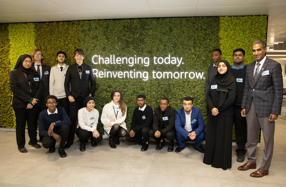 Professor Brian Cox (fourth from left), and Jacobs President and Chief Operating Officer Bob Pragada (far right), spoke to 16 to 18-year-olds from local London schools, giving inspirational ideas for their future careers.