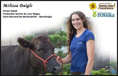 Mélissa Daigle remporte la bourse en développement durable du concours Tournez-vous vers l'excellence! (Groupe CNW/La Financière agricole du Québec)