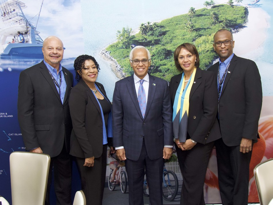 L-R: Ellison Tommy Thompson, BMOTA, Deputy Director General; Charnelle Brown, Bahamas Deputy High Commissioner, Canada; Hon. Dionisio D'Aguilar, Bahamas Minister of Tourism & Aviation; Joy Jibrilu, BMOTA, Director General; Paul Strachan, BTO Canada Director
