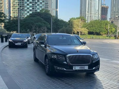 Los vehículos Hongqi aparecen en la Tercera Cumbre NEXT (Dubái 2019) ,en su carácter de socio principal y único vehículo oficial. (PRNewsfoto/Xinhua Silk Road Information Se)