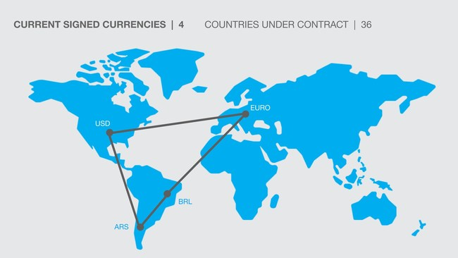 A map showing the four currencies under contract and by 2020 more than 34 countries on their financial ecosystem.