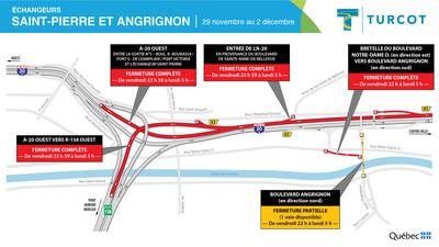 Entraves − Échangeurs Saint-Pierre et Angrignon (Groupe CNW/Ministère des Transports)