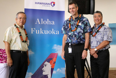 Pictured L to R at HNL: Koichi Ito, Japan Consul General; Peter Ingram, President and CEO of Hawaiian Airlines; Ross Higashi, Deputy Director of Hawaii Dept. of Transportation.
