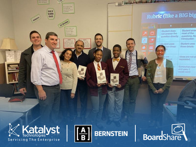 Katalyst Technologies Inc., a leading IT software services company, announced today its partnership with Bernstein Private Wealth Management (Bernstein), a unit of global investment management firm AllianceBernstein L.P. (AB), to provide cutting edge whiteboard technology to students and teachers across the Chicago community.